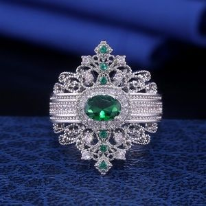 Silver filled crown green cocktail statement ring